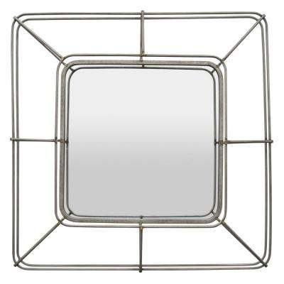 32 in. Gray Metal Wall Mirror