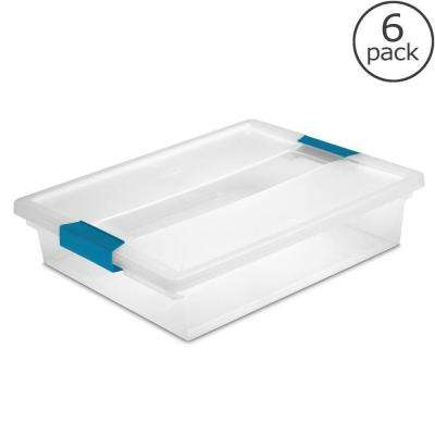 5 1/2 Qt. Large Clip Box Storage Tote (Case of 6)
