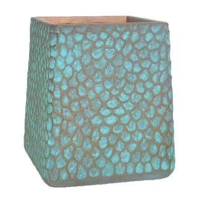 12 in. H Large Patina Green Composite Inverted Taper Hammered Planter