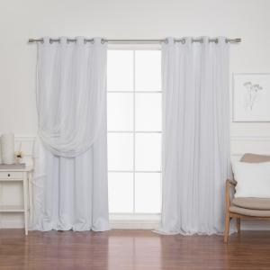 Vapor 96 in. L Marry Me Lace Overlay Room Darkening Curtain Panel (2-Pack)