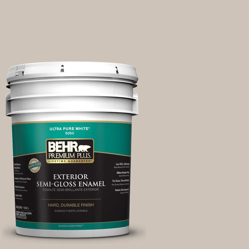 5-gal. #ICC-89 Gallery Taupe Semi-Gloss Enamel Exterior Paint