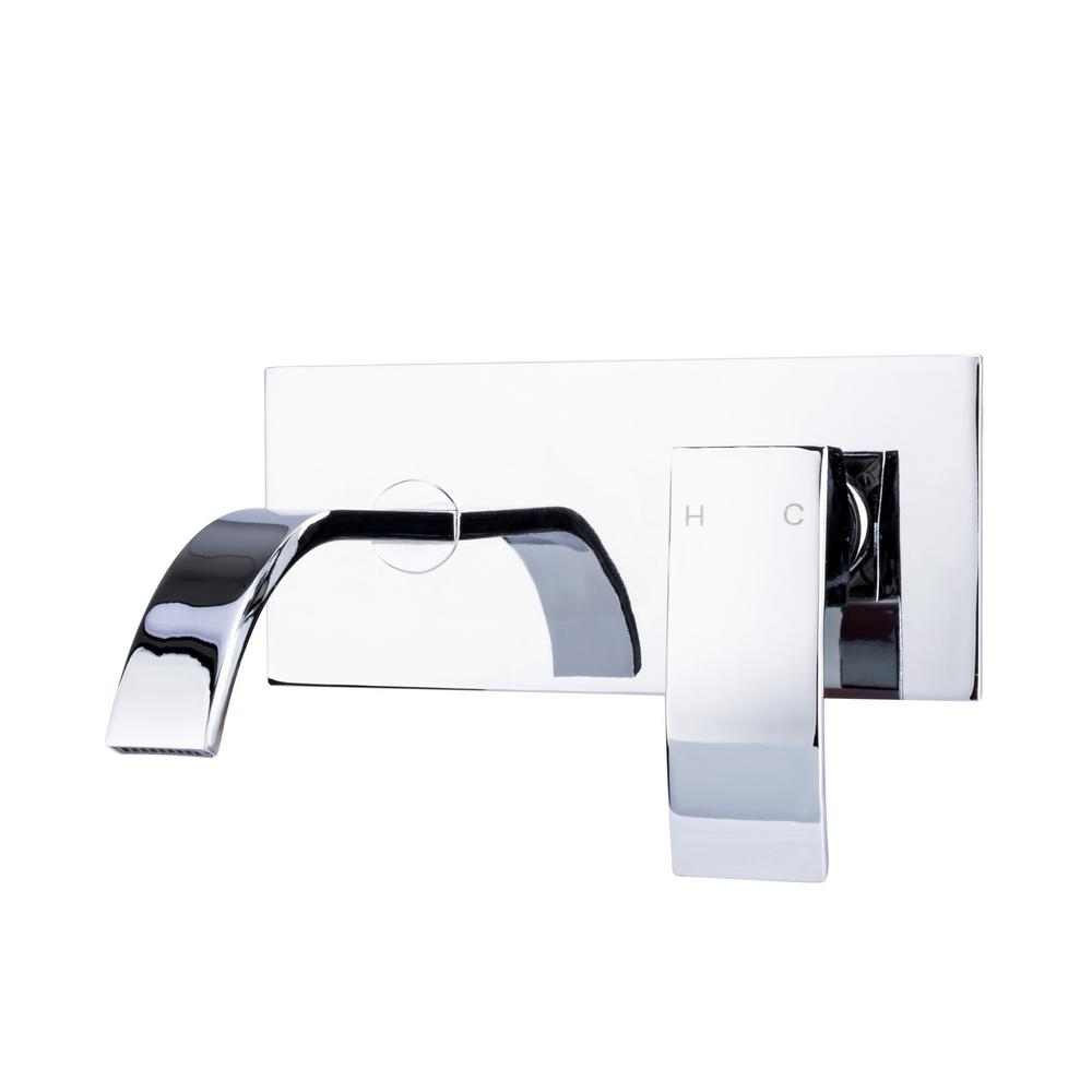 Italia Single Handle Wall Mount Bathroom Faucet With Modern Ribbon Spout In Chrome
