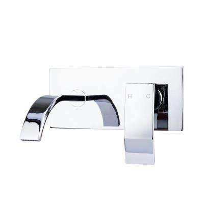 Single-Handle Wall Mount Bathroom Faucet with Modern Ribbon Spout in Chrome
