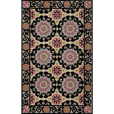 Suzani Black 3 ft. 6 in. x 5 ft. 6 in. Area Rug