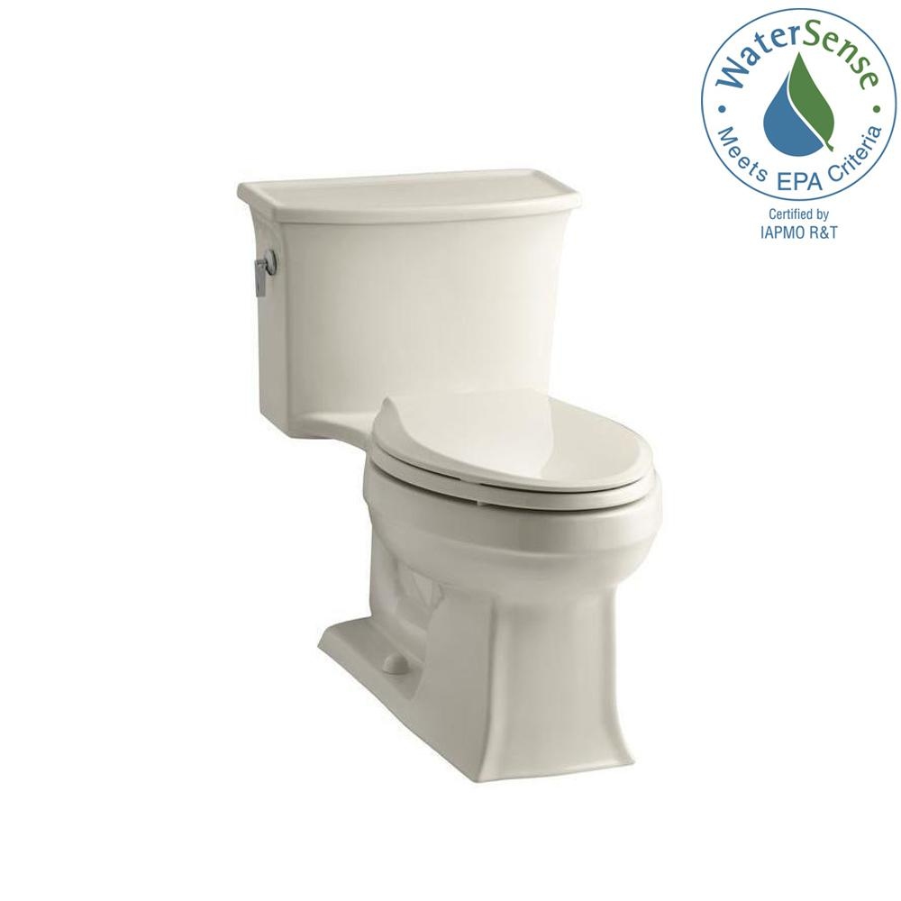 KOHLER Archer 1-piece 1.28 GPF Single Flush Elongated Toilet in Almond (Brown)