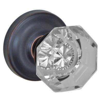 Oil-Rubbed Bronze Victorian Clear Passage Set Knob with Ketme Rose