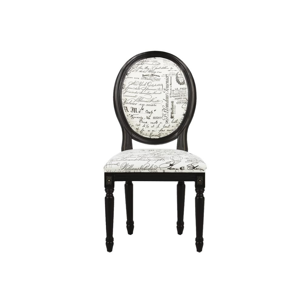 French Oval Painted Black Upholstered Side Chair (Set Of 2)