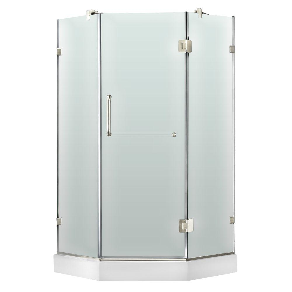 Vigo 38 in. x 78 in. Frameless Neo-Angle Shower Enclosure in Chrome and Frosted Glass with Left Base