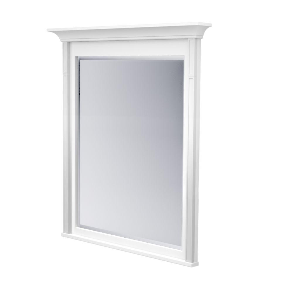 KraftMaid 42 in. L x 36 in. W Framed Wall Mirror in Dove