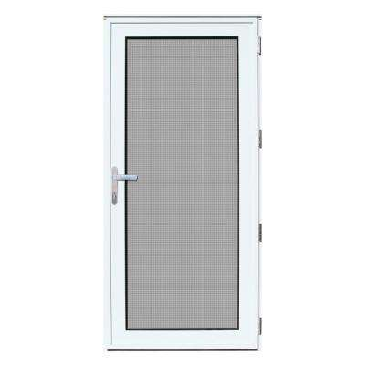 32 in. x 80 in. White Recessed Mount Right-Hand Meshtec Ultimate Storm Door with Glass