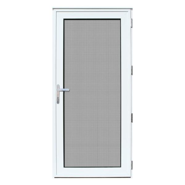 32 in. x 80 in. White Recessed Mount Right-Hand Meshtec Security Door with Tempered Glass Insert