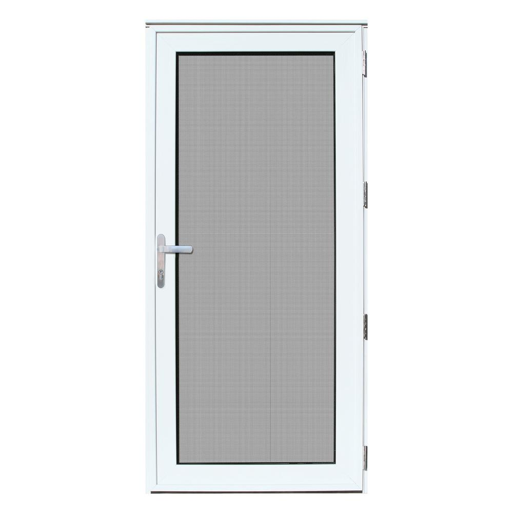 unique home designs 36 in x 80 in white recessed mount right hand meshtec ultimate storm door. Black Bedroom Furniture Sets. Home Design Ideas