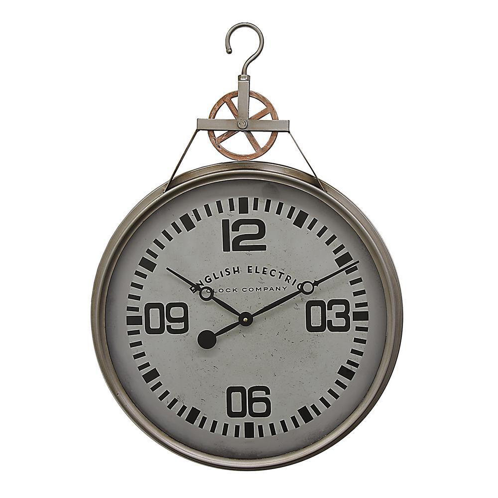 21.25 in. x 2.5 in. Metal Wall Clock in Gray
