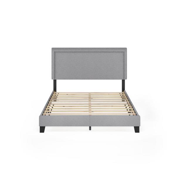 Laval Glacier Queen Double Row Nail Head Bed Frame