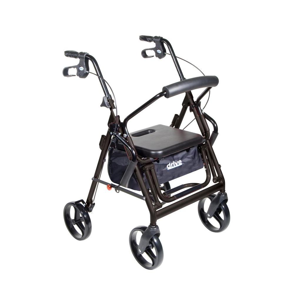 Drive Duet 4-Wheel Transport Rollator Walker in Black