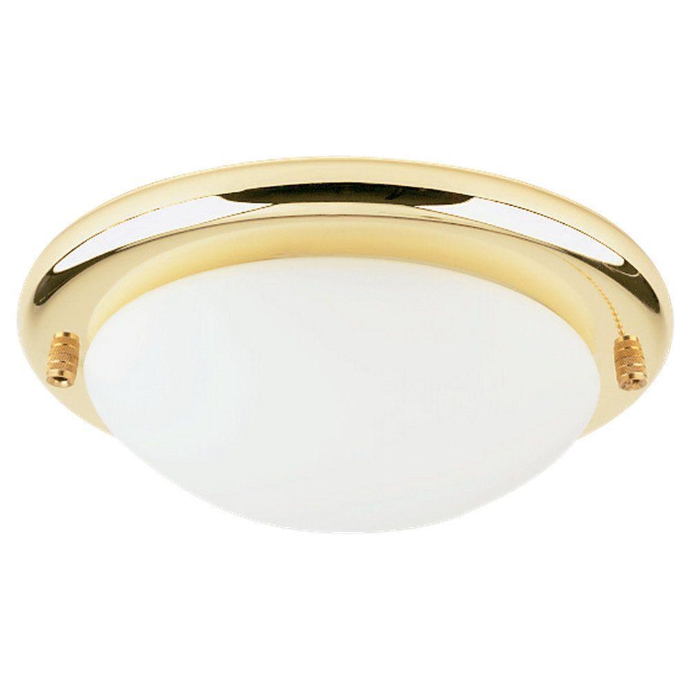 Sea Gull Lighting 1-Light Polished Brass Fluorescent Ceiling Fan Light Kit