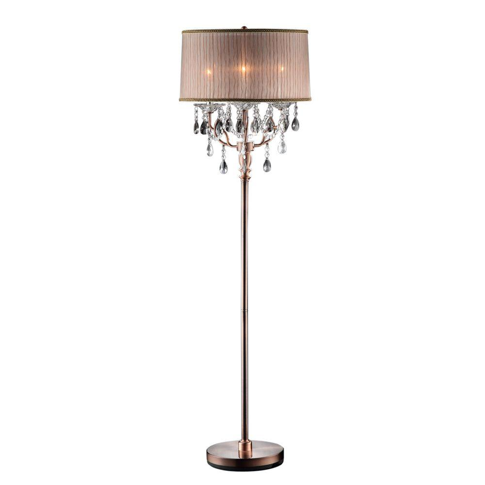 OK Lighting 62 in. Antique Rosie Crystal Floor Lamp