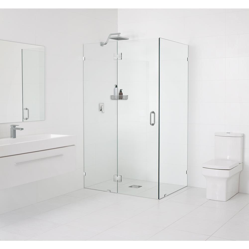 Frameless 90 Degree Hinged Glass Shower Enclosure in Chrome & Frameless - Shower Doors - Showers - The Home Depot pezcame.com