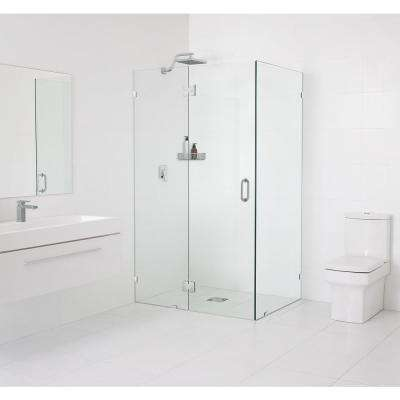 46 in. x 78 in. x 34.5 in. Frameless 90 Degree Hinged Glass Shower Enclosure in Chrome