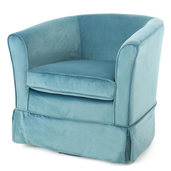 Cecilia Blue New Velvet Swivel Chair with Loose Cover