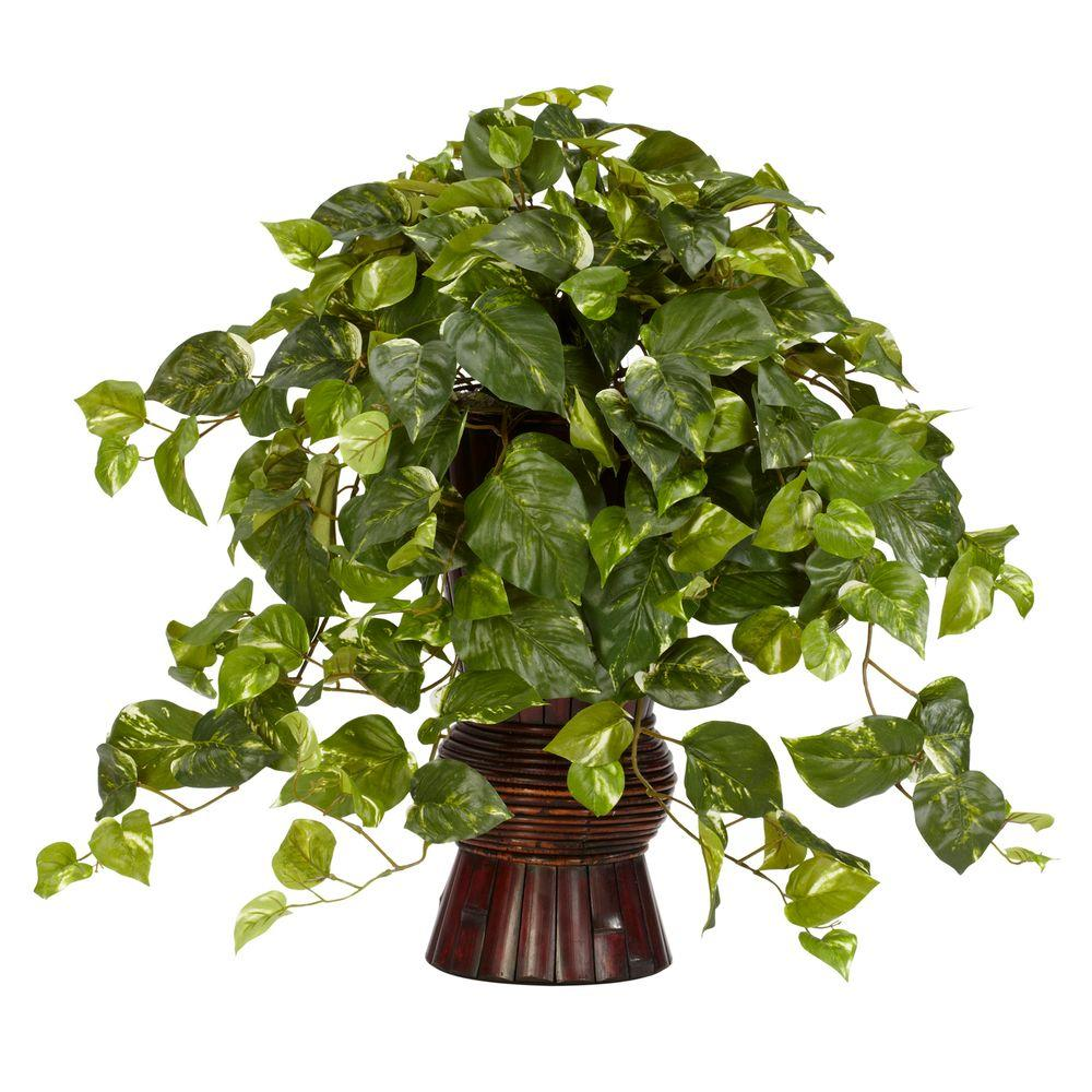 Nearly Natural 28 in. H Green Pothos with Bamboo Vase Silk Plant