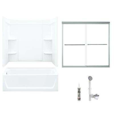 Ensemble 32 in. x 60 in. x 75 in. Bath and Shower Kit with Left-Hand Drain in White and Chrome