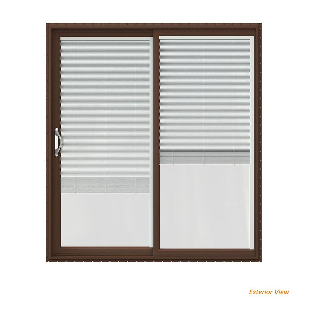 72 in. x 80 in. V-2500 Brown Painted Vinyl Left-Hand Full Lite Sliding Patio Door w/White Interior & Blinds