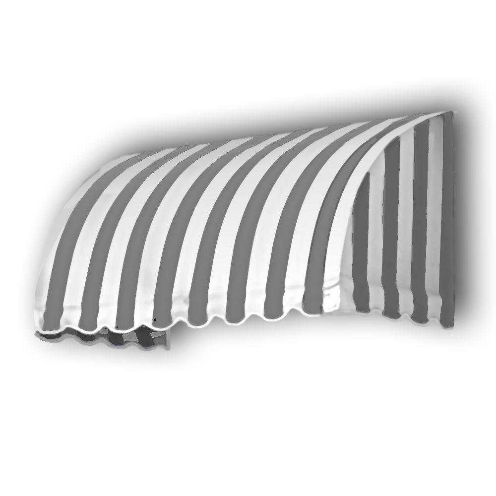 AWNTECH 35 ft. Savannah Window/Entry Awning (44 in. H x 36 in. D) in Gray/White Stripe