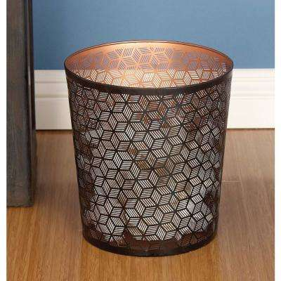 10 in. Black and Brown Cylindrical Metal Waste Can with Geometrical Pattern Cut-Outs