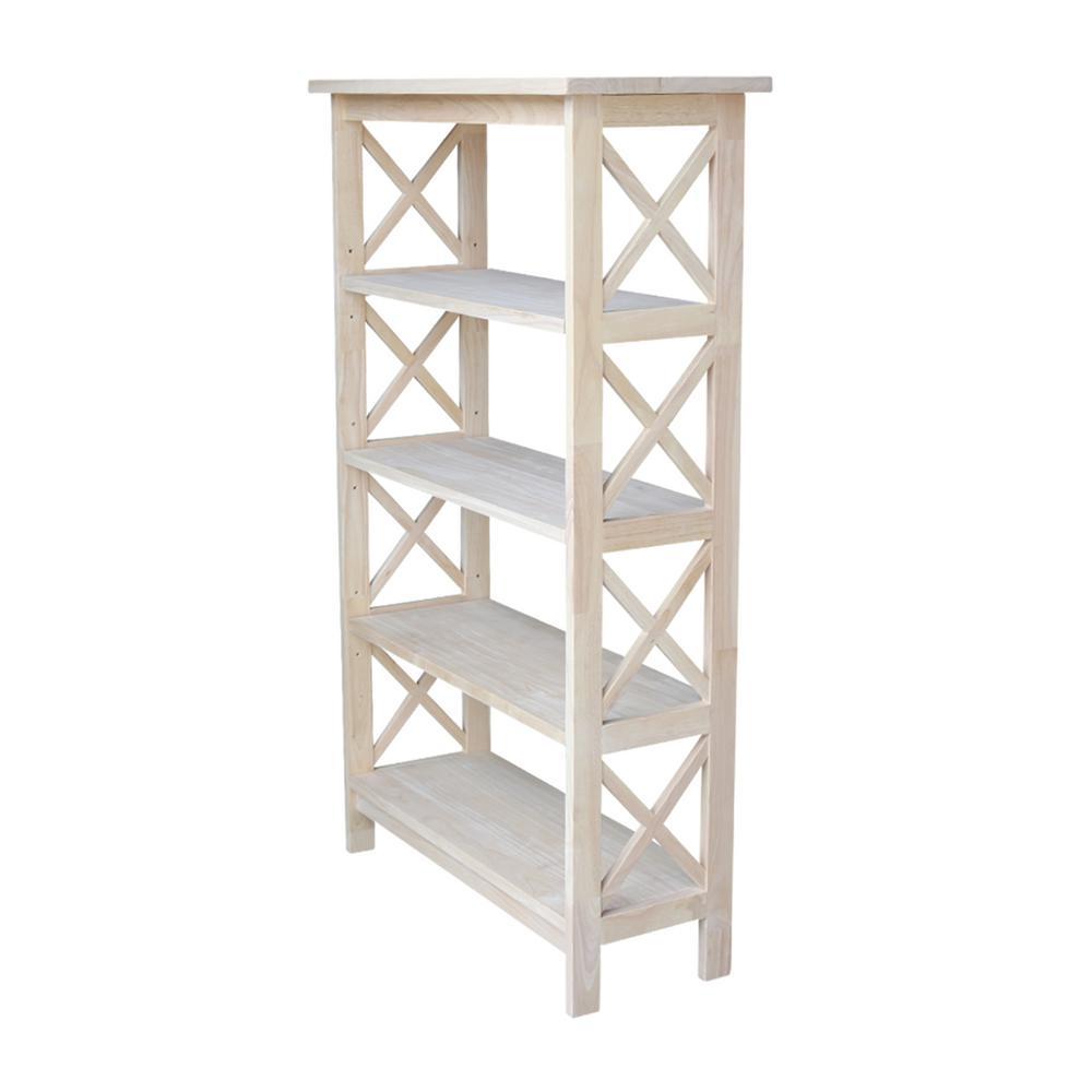 48 in. Unfinished Wood Wood 4-shelf Etagere Bookcase with Adjustable Shelves