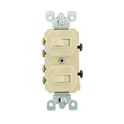 15 Amp Commercial Grade Combination Two 3-Way Toggle Switches, Ivory