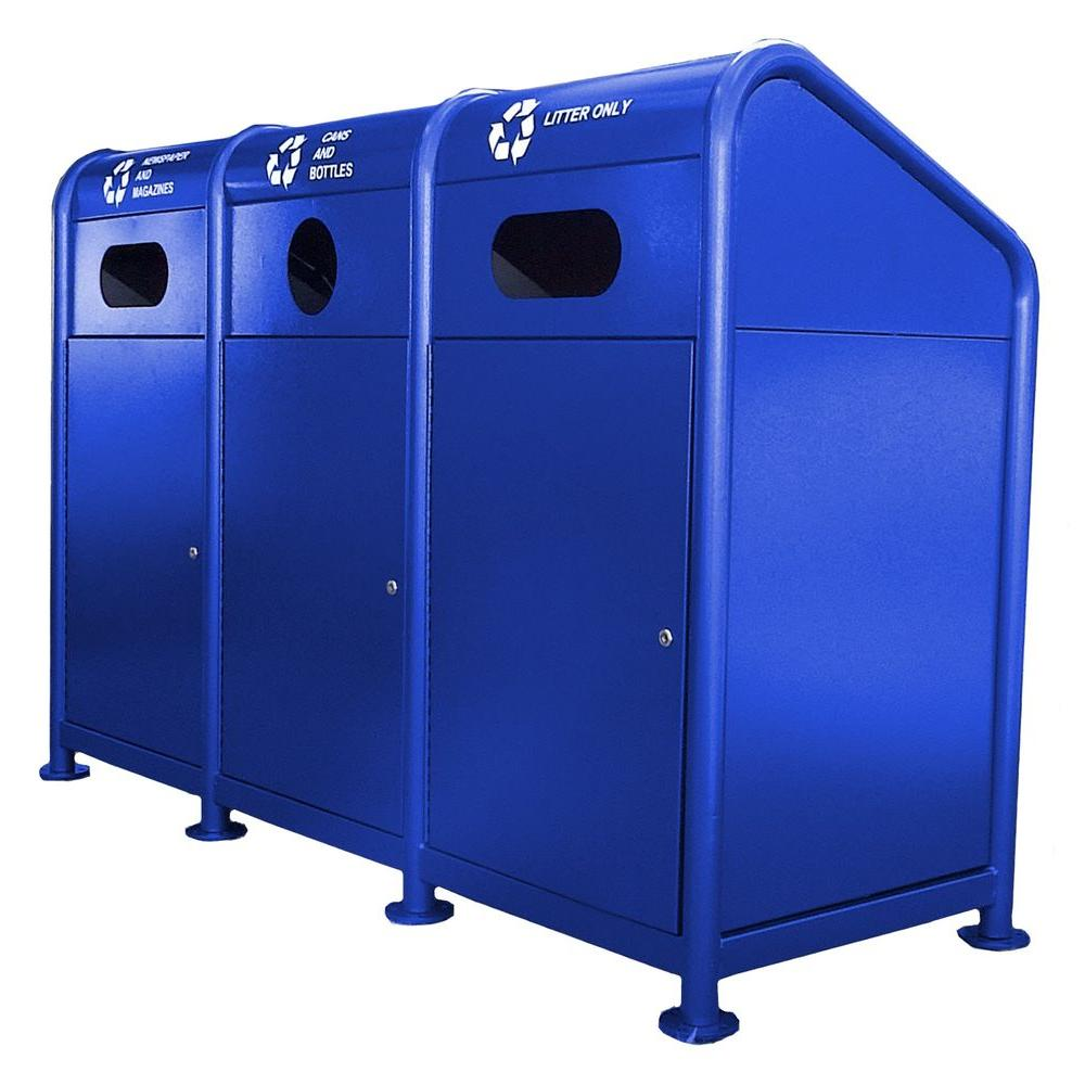 102 Gal. Steel Recycling Station in Blue