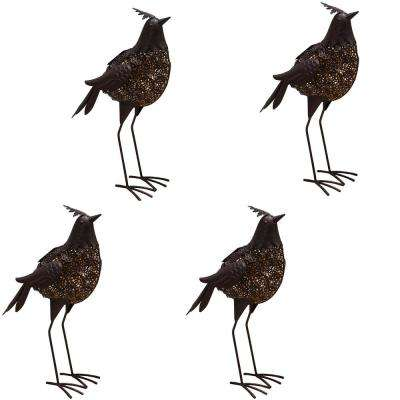 20.3 in. Steel Indoor/Outdoor Garden Bird Metal Sculpture Statue with Solar Light (4-Pack)