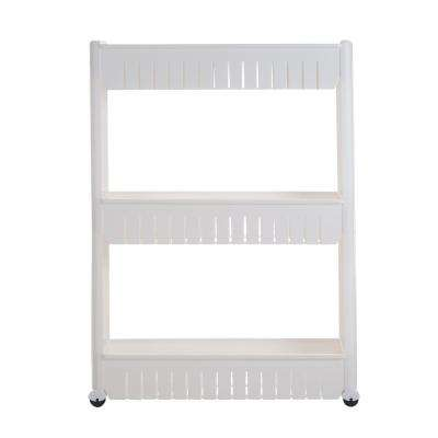 3-Tier White Slim Slide Out Pantry Storage Tower with Wheels