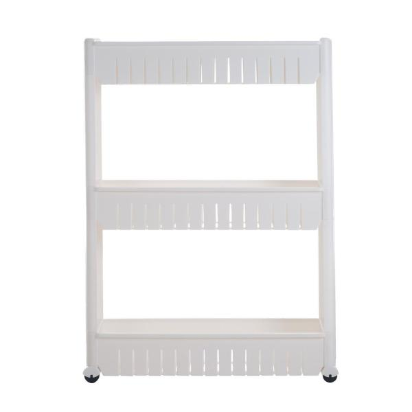 Everyday Home 3-Tier White Slim Slide Out Pantry Storage Tower with