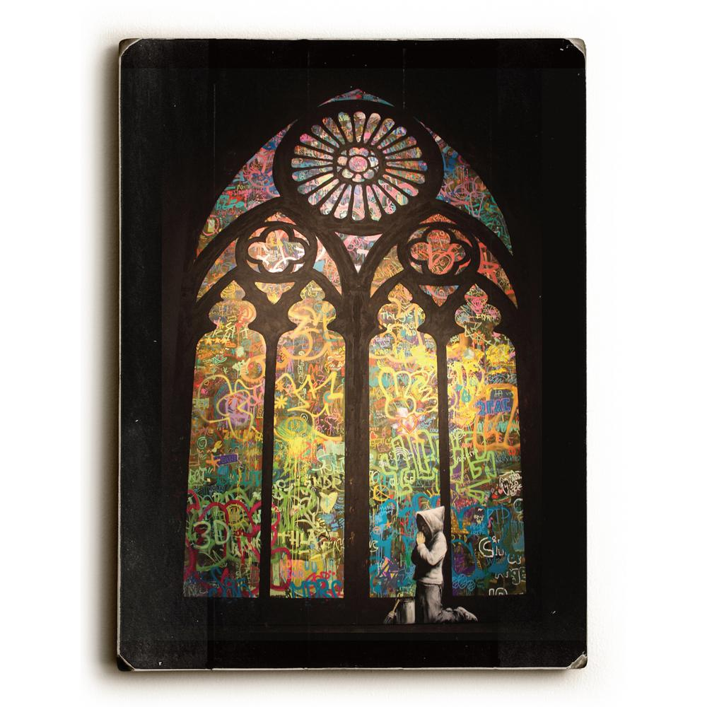 "9 in. x 12 in. ""Stained glass"" by Banksy Solid Wood"