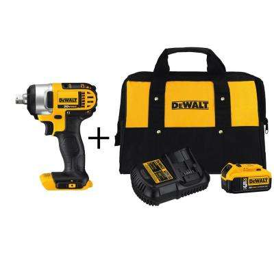 20-Volt MAX Lithium-Ion Cordless 1/2 in. Impact Wrench with Detent Pin (Tool-Only) with Bonus Battery 5Ah Starter Kit