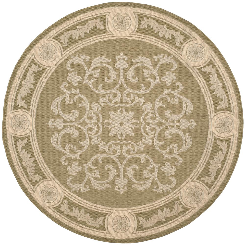 Safavieh Courtyard Olive/Natural 5 ft. x 5 ft. Indoor/Outdoor Round ...