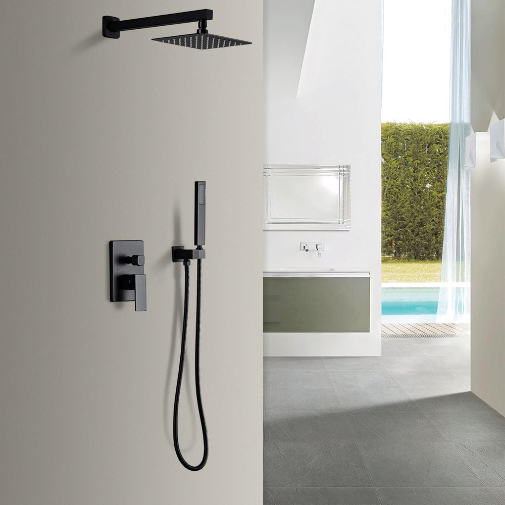 10 in. Square Pressure Balance Valve Shower System Bathroom Shower Towers with Slide Bar Hand-Shower in Matte Black