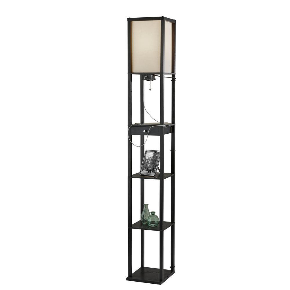 Black Wood Shelf Floor Lamp