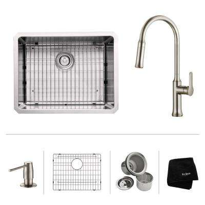 All-in-One Undermount Stainless Steel 23 in. Single Bowl Kitchen Sink with Faucet and Accessories in Stainless Steel