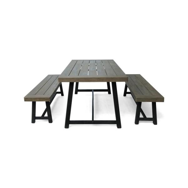 Raphael Grey and Black 3-Piece Wood Outdoor Dining Set