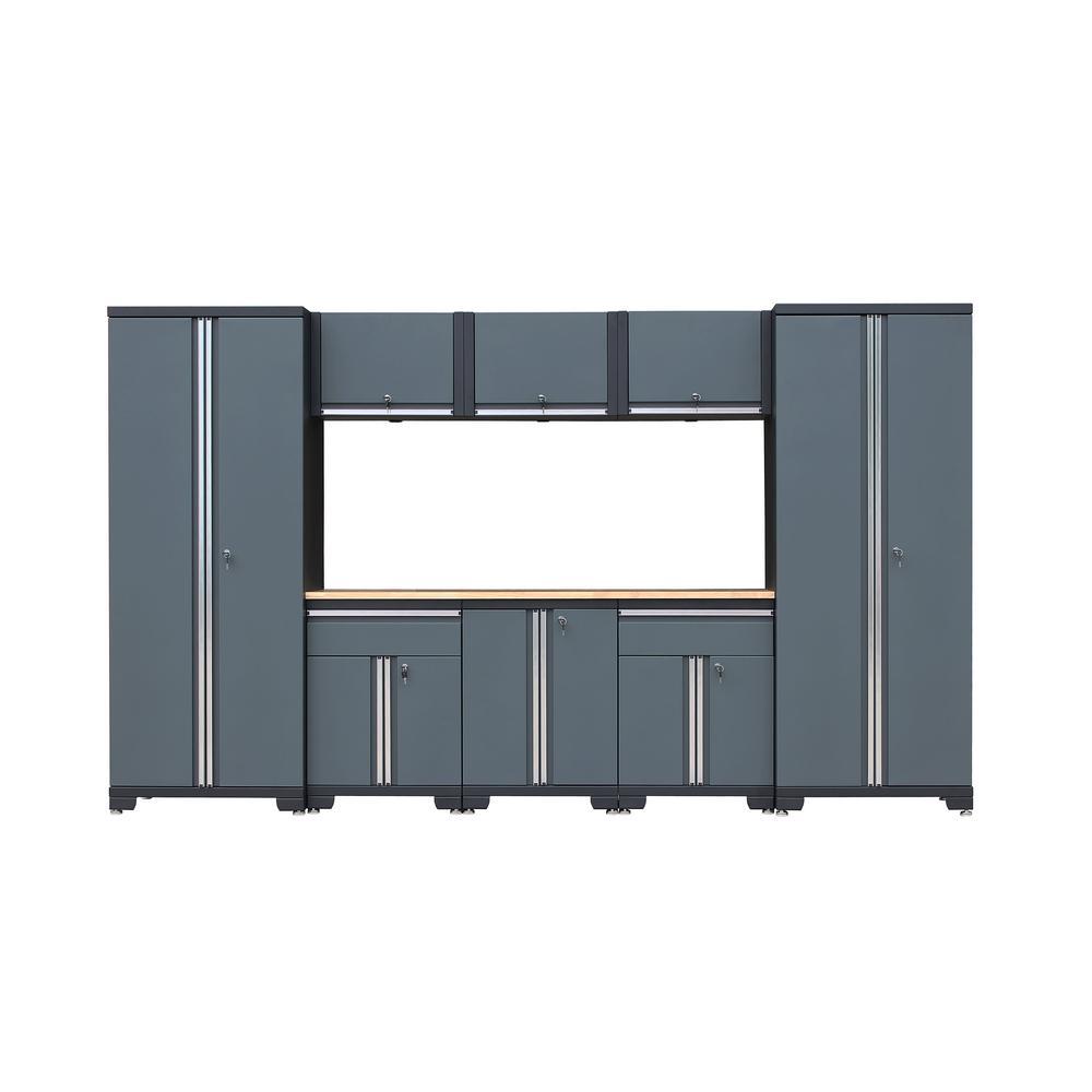Classic 1.0 76.3 in. H x 129.8 in. W x 18.6 in. D 24-Gauge Steel Garage Storage System in Gray (9-Piece)