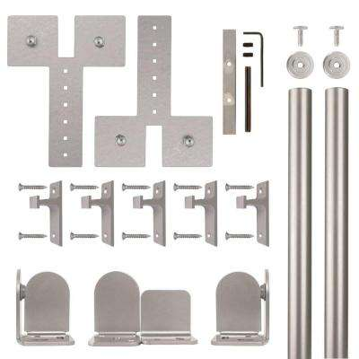 Dually Satin Nickel Rolling Door Hardware Kit for 3/4 in. to 1-1/2 in. Door