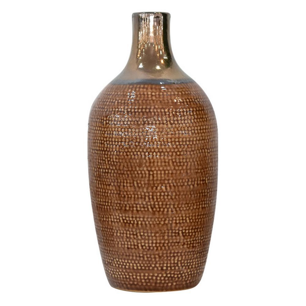 17 in. Ceramic Vase Brown