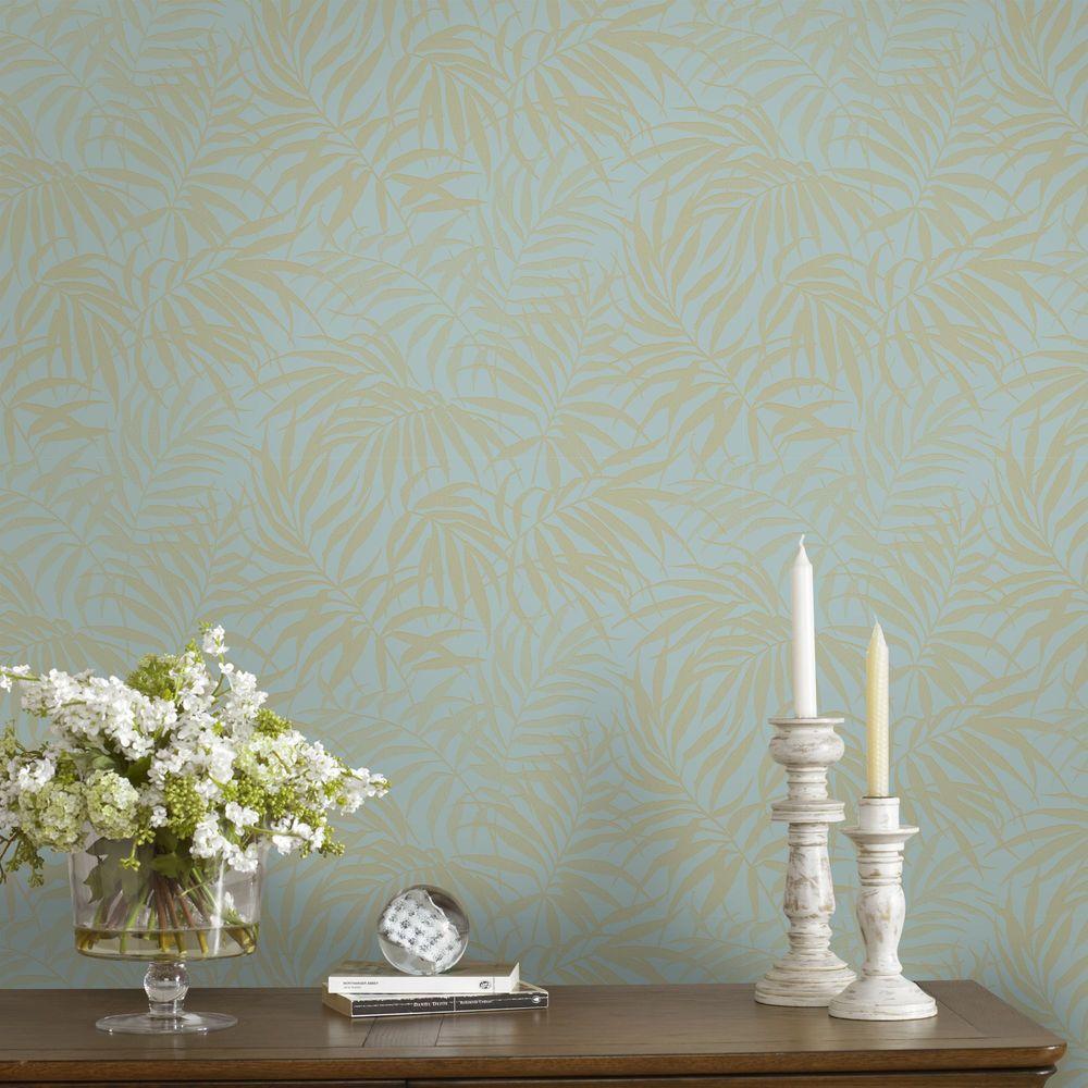 Tropic Aqua and Gold Removable Wallpaper Sample