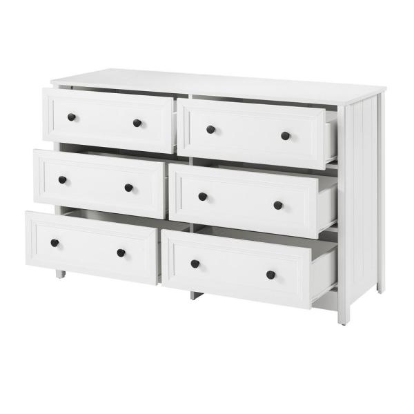 Welwick Designs Classic 6-Drawer White Groove Dresser HD8019