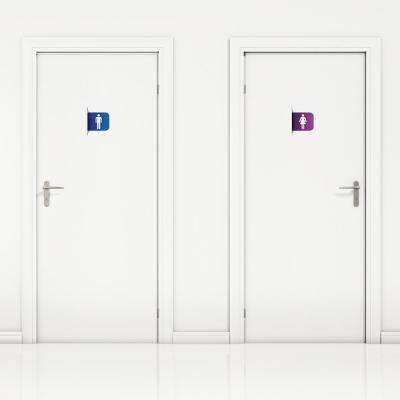 4 in. x 5 in. Wall Transfer Decal, Colorful Restroom Signs (4-Pack)