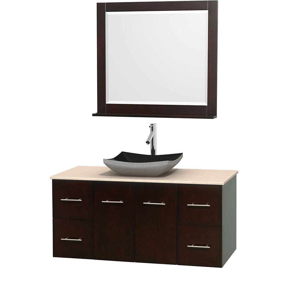 Wyndham Collection Centra 48 in. Vanity in Espresso with Marble Vanity Top in Ivory, Black Granite Sink and 36 in. Mirror