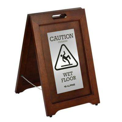 24 in. 2-Sided Stainless Steel Plated Wooden Bilingual Wet Floor Sign